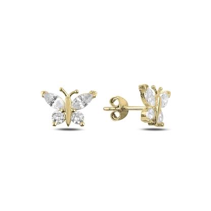 Resim Altın Kaplama Zirkon Taşlı Kelebek Gümüş Küpe
