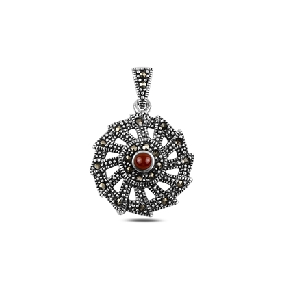 Resim Kırmızı Akik Doğal Taş & Markazit Taşlı Gümüş Bayan Kolye Ucu
