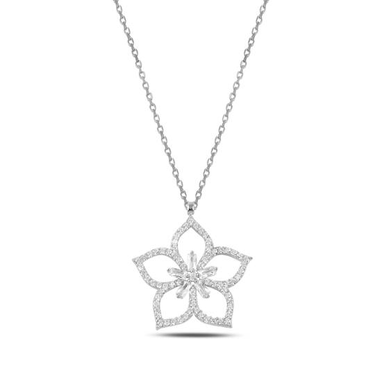 Ürün resmi: Rodyum Kaplama Çiçek Baget & Zirkon Taşlı Gümüş Bayan Kolye