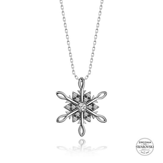 Ürün resmi: Swarovski Zirkon Taşlı Kar Tanesi Gümüş Bayan Kolye