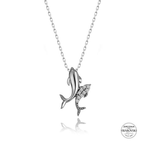 Ürün resmi: Swarovski Zirkon Taşlı Yunus Balığı Gümüş Bayan Kolye