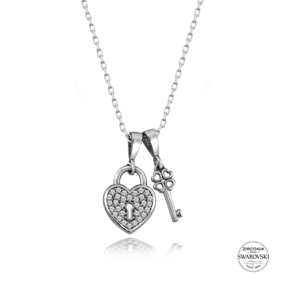 Resim Swarovski Zirkon Taşlı Kilit & Anahtar Gümüş Bayan Kolye