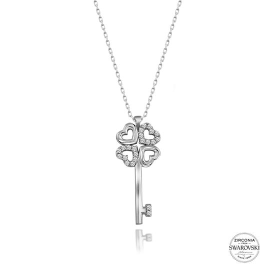 Ürün resmi: Swarovski Zirkon Taşlı Anahtar Gümüş Bayan Kolye
