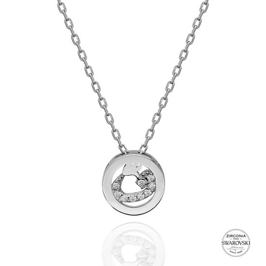 Ürün resmi: Swarovski Zirkon Taşlı Vav Harfi Gümüş Bayan Kolye