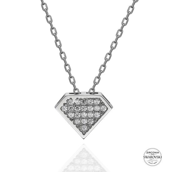 Ürün resmi: Swarovski Zirkon Taşlı Gümüş Bayan Kolye