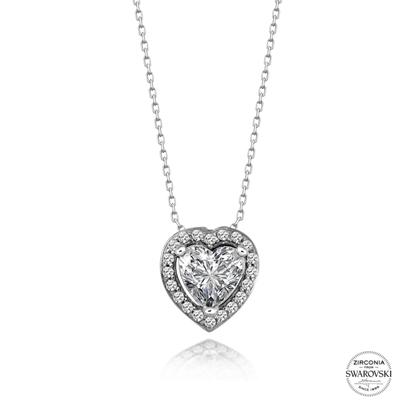 Resim Swarovski Zirkon Taşlı Kalp Gümüş Bayan Kolye