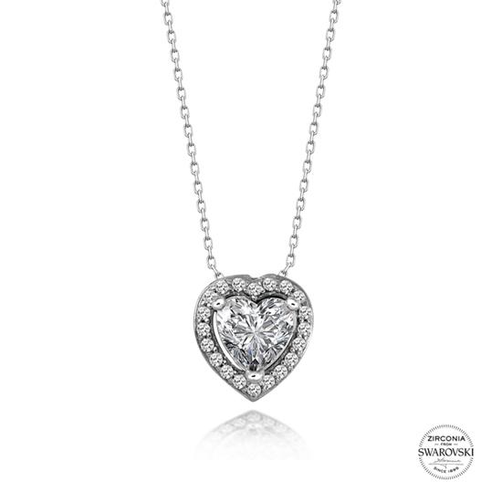 Ürün resmi: Swarovski Zirkon Taşlı Kalp Gümüş Bayan Kolye