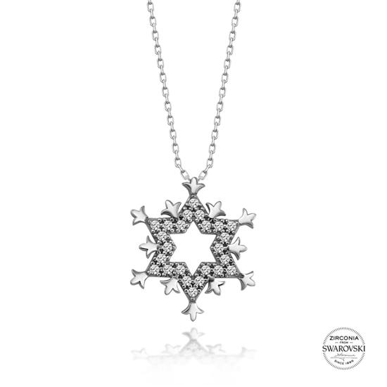 Ürün resmi: Swarovski Zirkon Taşlı Yıldız Gümüş Bayan Kolye