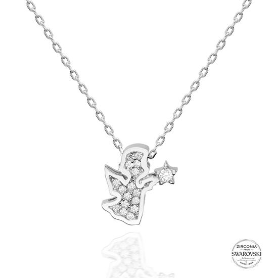 Ürün resmi: Swarovski Zirkon Taşlı Peri Gümüş Bayan Kolye