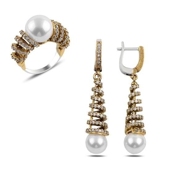 Ürün resmi: İnci & Zirkon Taşlı Otantik Gümüş Bayan Set