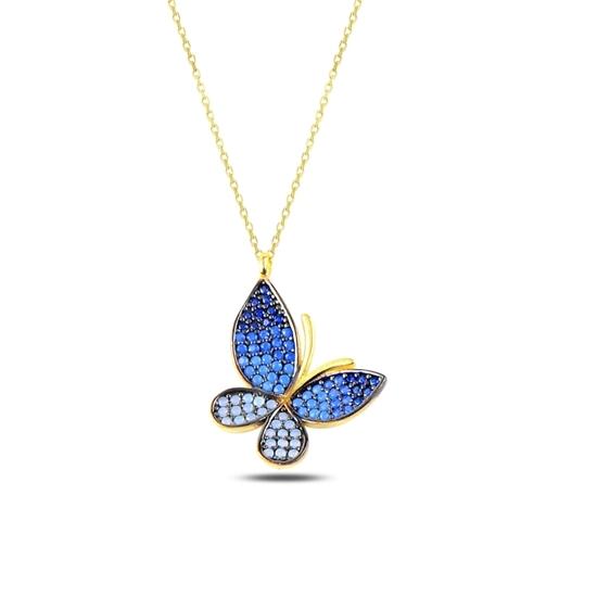 Ürün resmi: Altın Kaplama Mavi Tonlamalı Nano Taşlı Kelebek Gümüş Bayan Kolye