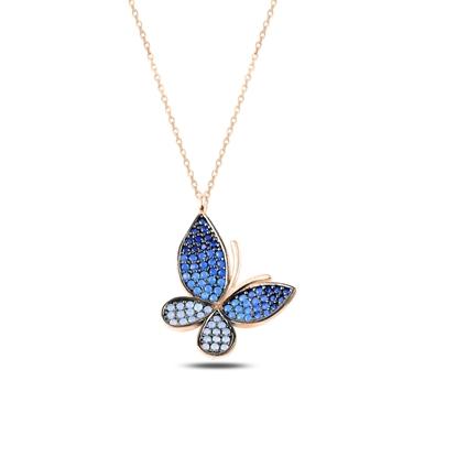 Resim Rose Kaplama Mavi Tonlamalı Nano Taşlı Kelebek Gümüş Bayan Kolye