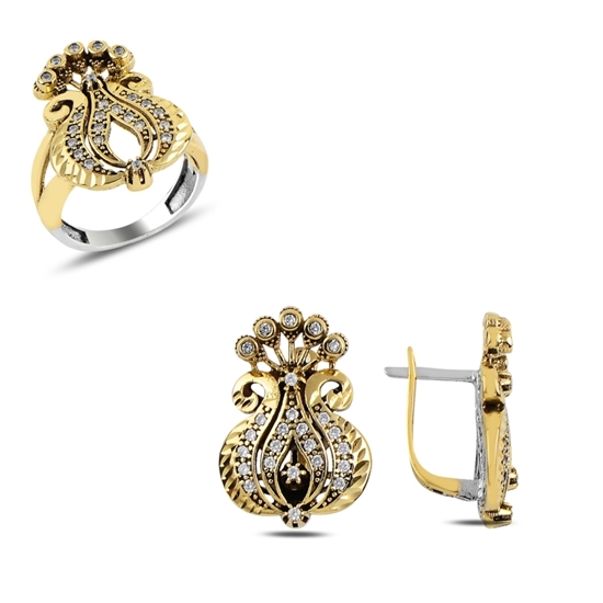 Ürün resmi: Safir Zirkon (Lacivert) Zirkon Taşlı Otantik Gümüş Bayan Set