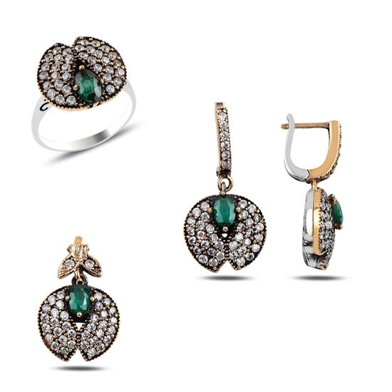 Ürün resmi: Zümrüt Zirkon (Yeşil) Zirkon Taşlı Otantik Gümüş Bayan Set