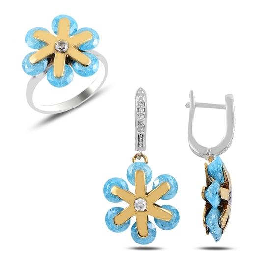 Ürün resmi: Mavi Buzlu Zirkon Zirkon Taşlı Otantik Gümüş Bayan Set