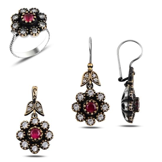 Ürün resmi: Yakut Zirkon (Kırmızı) Zirkon Taşlı Otantik Gümüş Bayan Set