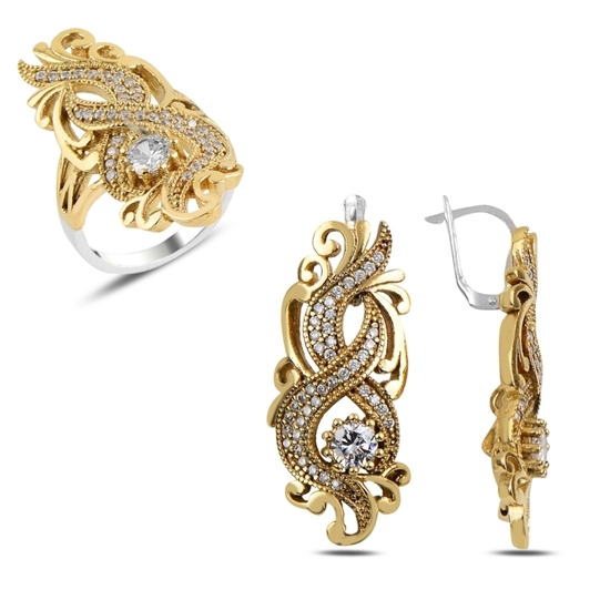 Ürün resmi: Sitrin Zirkon (Turuncu) Zirkon Taşlı Otantik Gümüş Bayan Set