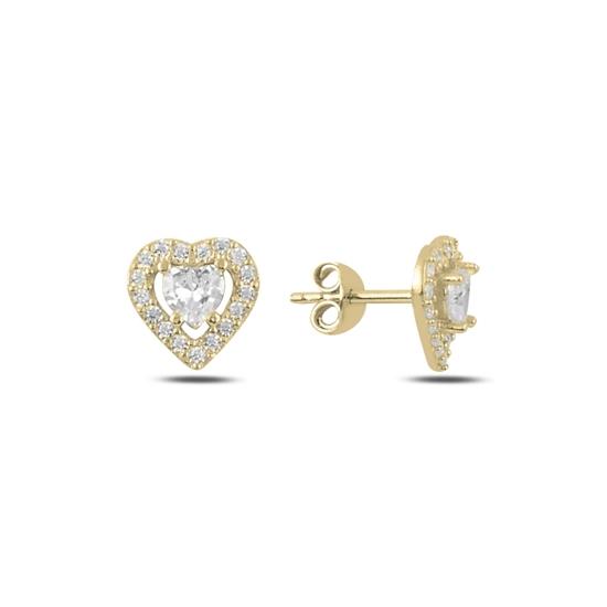Ürün resmi: Altın Kaplama Kalp Zirkon Taşlı Tektaş Gümüş Küpe