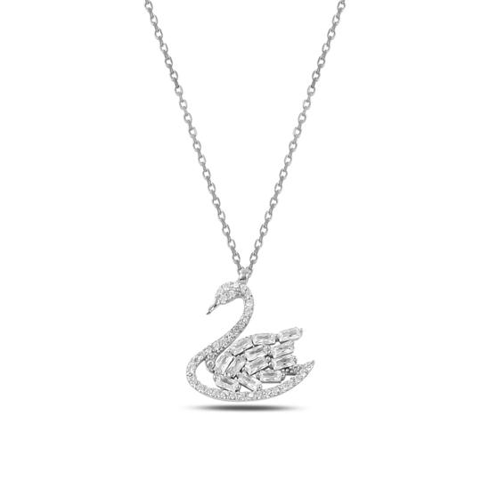 Ürün resmi: Rodyum Kaplama Kuğu Baget & Zirkon Taşlı Gümüş Bayan Kolye