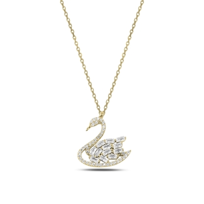 Resim Altın Kaplama Kuğu Baget & Zirkon Taşlı Gümüş Bayan Kolye