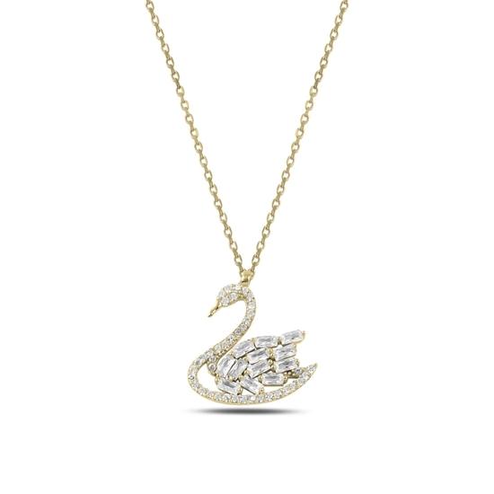 Ürün resmi: Altın Kaplama Kuğu Baget & Zirkon Taşlı Gümüş Bayan Kolye
