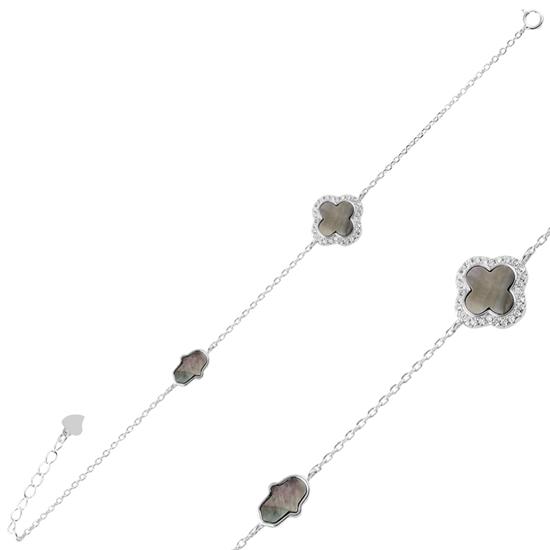 Ürün resmi: Zirkon Taşlı Dört Yapraklı Yonca & Fatma Ana Eli Gümüş Bayan Bileklik