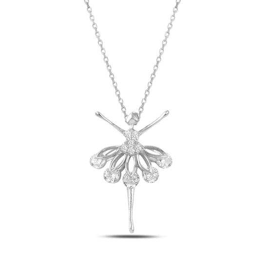 Ürün resmi: Rodyum Kaplama Zirkon Taşlı Balerin Gümüş Bayan Kolye