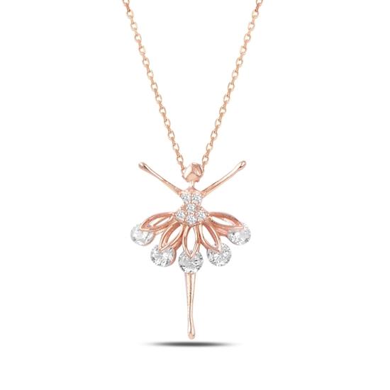 Ürün resmi: Rose Kaplama Zirkon Taşlı Balerin Gümüş Bayan Kolye