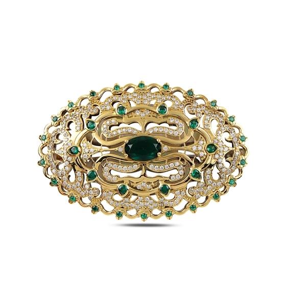 Ürün resmi: Zümrüt Zirkon (Yeşil) Zirkon Taşlı Otantik Gümüş Broş