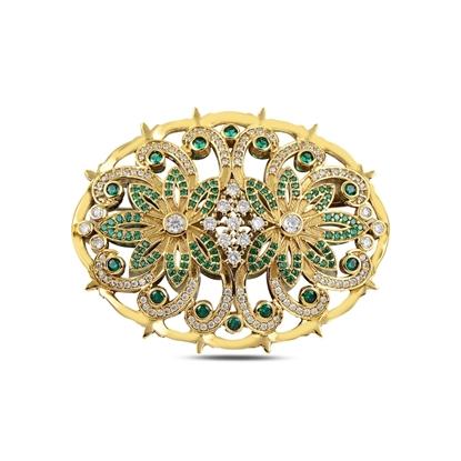 Resim Safir Zirkon (Lacivert) Zirkon Taşlı Otantik Gümüş Broş