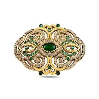 Resim Zümrüt Zirkon (Yeşil) Zirkon Taşlı Otantik Gümüş Broş