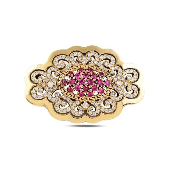 Ürün resmi: Ametist Zirkon (Mor) Zirkon Taşlı Otantik Gümüş Broş