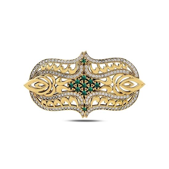 Ürün resmi: Sitrin Zirkon (Turuncu) Zirkon Taşlı Otantik Gümüş Broş