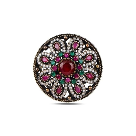 Ürün resmi: Yakut Zirkon (Kırmızı) Zirkon Taşlı Otantik Gümüş Broş