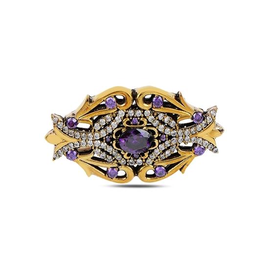 Ürün resmi: Siyah Zirkon Zirkon Taşlı Otantik Gümüş Broş