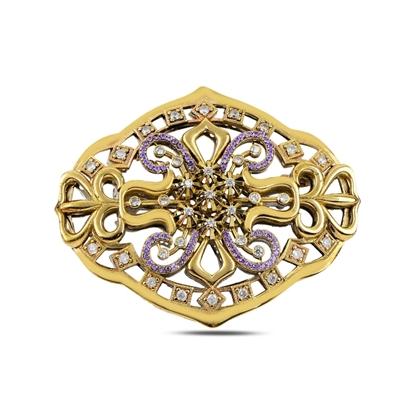 Resim Ametist Zirkon (Mor) Zirkon Taşlı Otantik Gümüş Broş