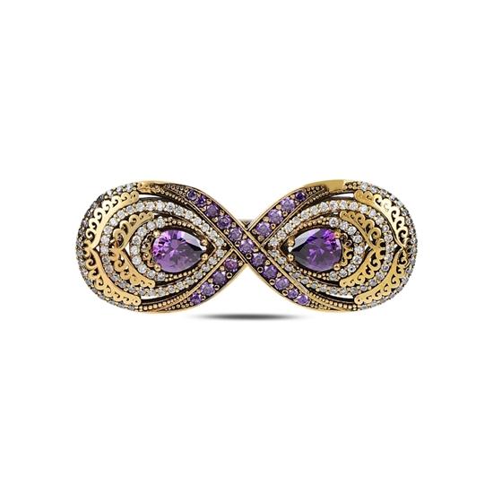 Ürün resmi: Safir Zirkon (Lacivert) Zirkon Taşlı Otantik Gümüş Broş