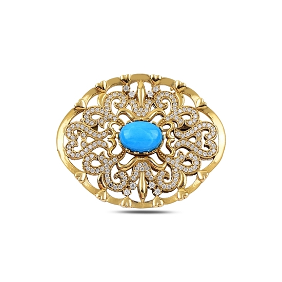 Ürün resmi: Turkuaz Zirkon Taşlı Otantik Gümüş Broş