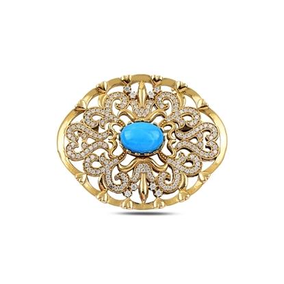 Resim Mercan Zirkon Taşlı Otantik Gümüş Broş
