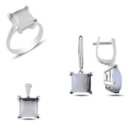 Ürün resmi: Rodyum Kaplama Doğal Tektaş Gümüş Bayan Set