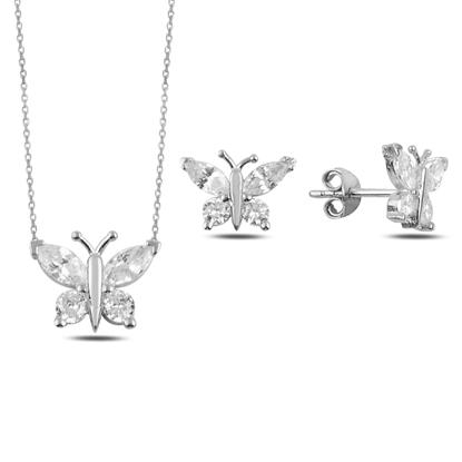 Resim Rodyum Kaplama Zirkon Taşlı Kelebek Gümüş Bayan Set