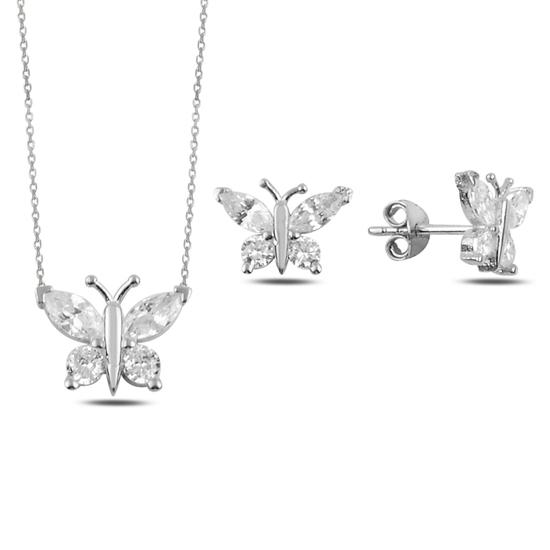 Ürün resmi: Rodyum Kaplama Zirkon Taşlı Kelebek Gümüş Bayan Set