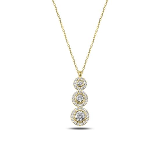 Ürün resmi: Altın Kaplama Zirkon Taşlı Gümüş Bayan Kolye