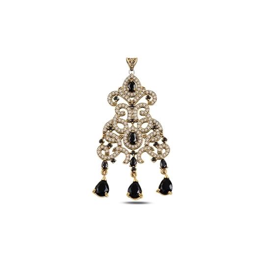 Ürün resmi: Siyah Zirkon Damla Zirkon Taşlı Otantik Gümüş Bayan Kolye Ucu