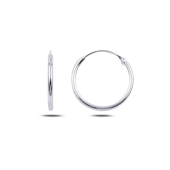 Ürün resmi: Rodyum Kaplama 18mm Sade Halka Gümüş Küpe