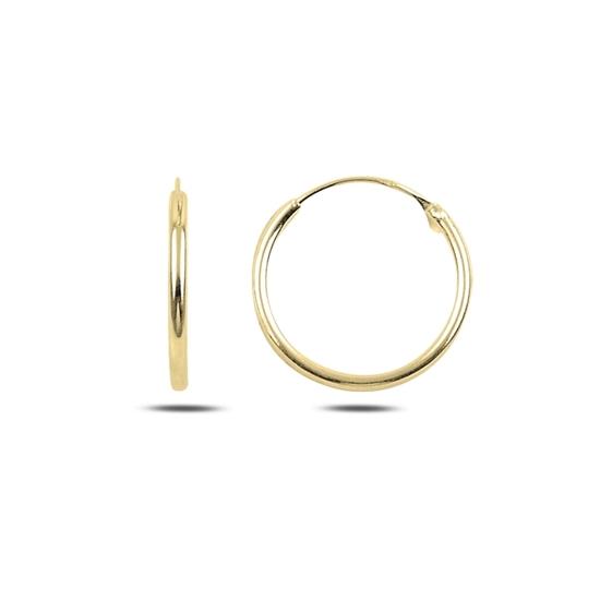 Ürün resmi: Altın Kaplama 18mm Sade Halka Gümüş Küpe