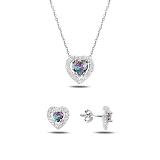 Ürün resmi: Kalp Mistik Topaz Zirkon Taşlı Tektaş Gümüş Bayan Set