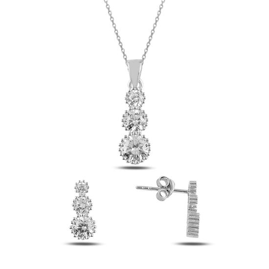 Ürün resmi: Rodyum Kaplama Süzme Zirkon Taşlı Gümüş Bayan Set