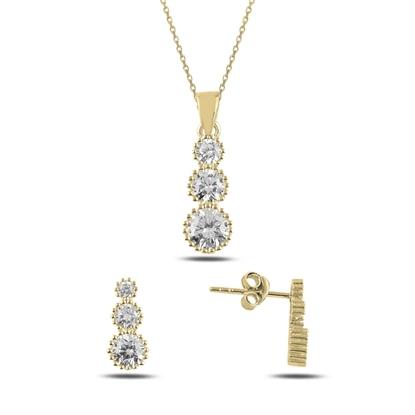 Resim Altın Kaplama Süzme Zirkon Taşlı Gümüş Bayan Set