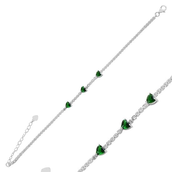 Ürün resmi: Zümrüt Zirkon (Yeşil) Kalpli Zirkon Taşlı Suyolu Gümüş Bayan Bileklik